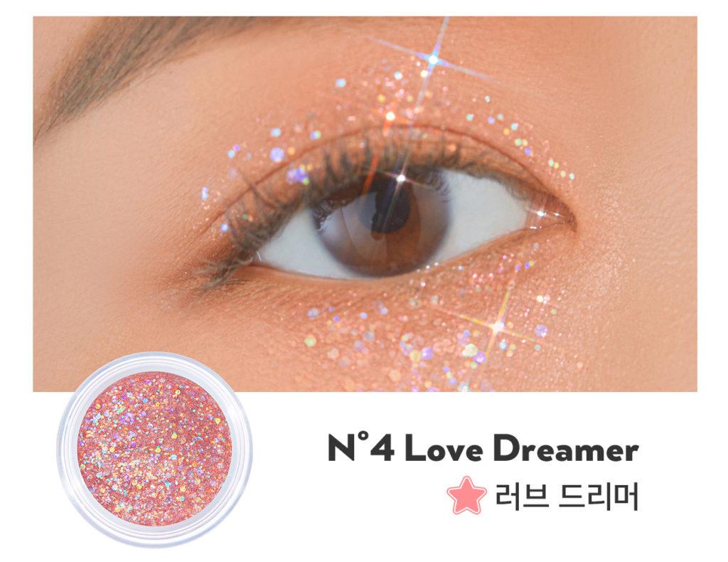 UNLEASHIA(アンレシア)のGet Loose Glitter Gel N°4 Love Dreamer(ゲットルーズグリッタージェル ラブドリーマー)のスウォッチ