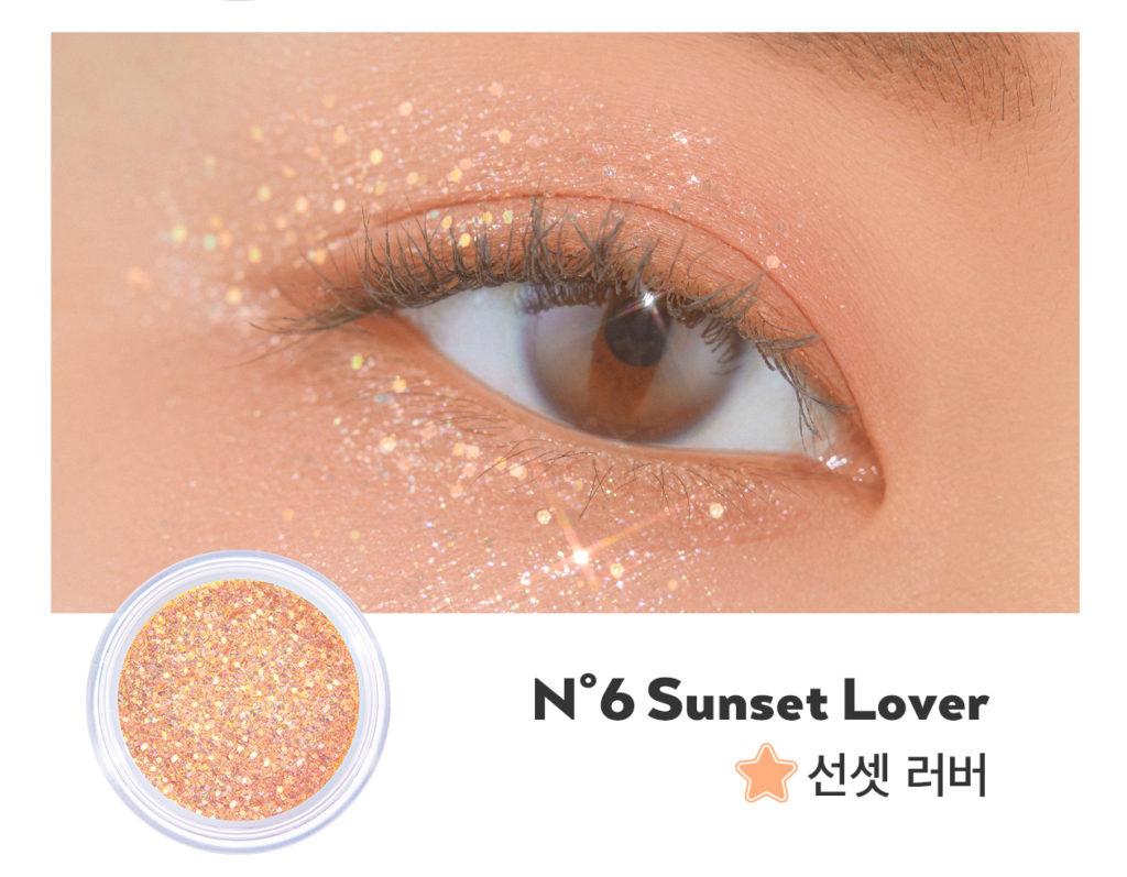 UNLEASHIA(アンレシア)Get Loose Glitter Gel N°6 Sunset Lover(ゲットルーズグリッタージェル サンセットラバー)のスウォッチ