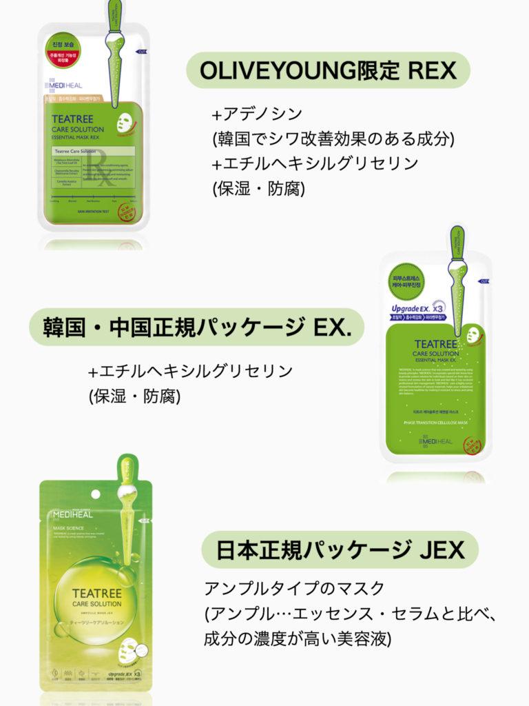 MEDIHEAL(メディヒール)TEATREE MASK(ティーツリーマスク)REX・EX.・JEXの違い